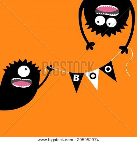 Happy Halloween Two screaming monster head silhouette. Bunting flags pack Boo letters. Flag garland. Hanging upside down. Black Funny Cute cartoon baby character. Flat design. Orange background Vector