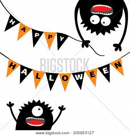 Two screaming monster head silhouette. Bunting flags pack Happy Halloween letters. Flag garland. Hanging upside down. Black Funny Cute cartoon baby character. Flat design. White background. Vector