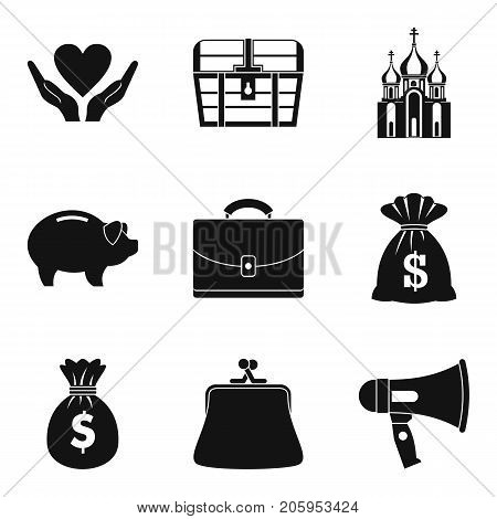 Beneficence icons set. Simple set of 9 beneficence vector icons for web isolated on white background