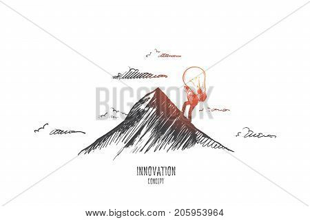 Innovation concept. Hand drawn man climbing on mountain with light bulb. Light bulb as symbol of innovation isolated vector illustration.