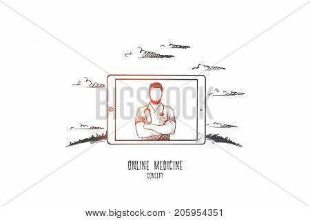 Online medicine concept. Hand drawn doctor with stethoscope on tablets monitor. Online diagnosis of the disease isolated vector illustration.