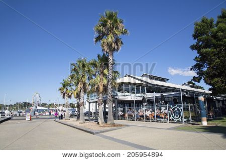 Geelong, Australia: April 03, 2017: Wharf Shed Cafe is an informal venue with huge windows and waterfront tables, dishing up a menu of family favourites.