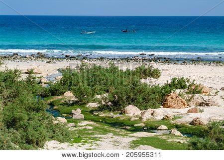 Arher (Socotra island) - 15 January 2008: freshwater stream that flows into the sea at Arher beach on Socotra island Yemen