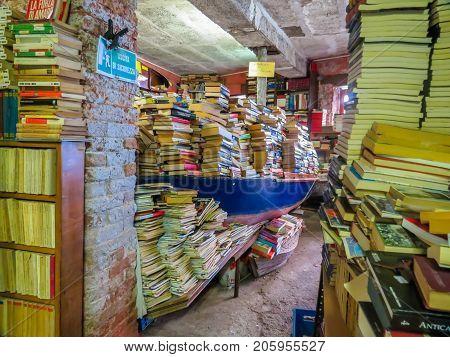Bookstore Alta Acqua Libreria, Famous Bookshop In Venice, Italy