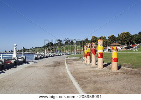 Geelong, Australia: April, 2017: The Lifeguard Bollard Figures on the promenade are part of Geelong's Victorian heritage. There are 103 bollards over 48 sites between Corio Bay and Limeburners Point.