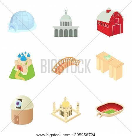 Small town icons set. Cartoon set of 9 small town vector icons for web isolated on white background
