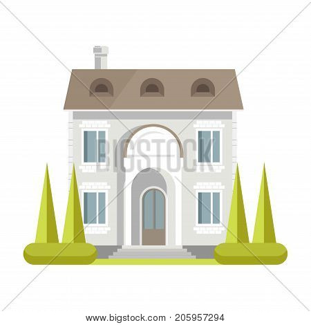 Facade of rich two-storey brick house with neat lawn, tall spruces, large windows, spacious entrance, small stairs and chimney pipe isolated cartoon flat vector illustration on white background.