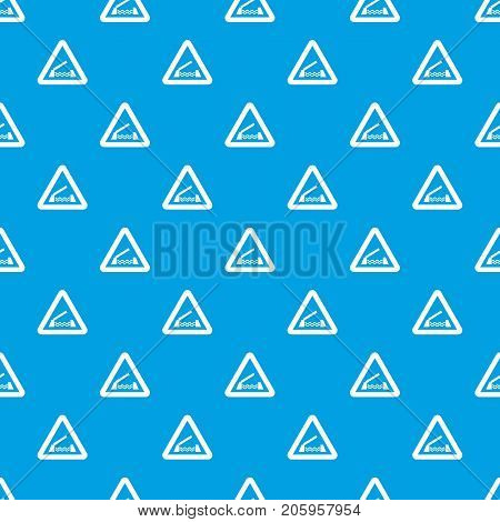 Lifting bridge warning sign pattern repeat seamless in blue color for any design. Vector geometric illustration