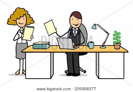 Job interview cartoon illustration with woman as candidate and man as employer
