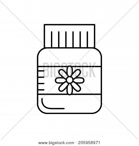 line bottle pill pharmaceutical medicine to treatment vector illustration