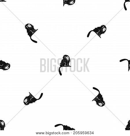 Hairy monkey pattern repeat seamless in black color for any design. Vector geometric illustration