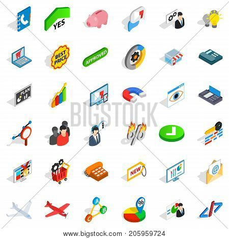 Magnet icons set. Isometric style of 36 magnet vector icons for web isolated on white background