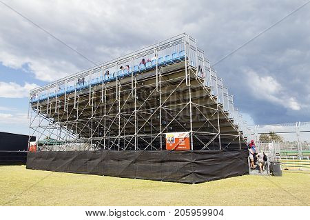 Melbourne, Australia: March 25, 2017: Temporary spectator stand at Albert Park, Melbourne to see the annual Formula One Event