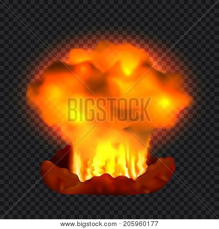 Nuclear explosion concept background. Realistic illustration of nuclear explosion vector concept background for web design