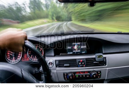 fast car ride. view from inside. abstract background