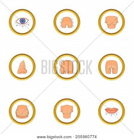 Cosmetic surgery icons set. Cartoon style set of 9 cosmetic surgery vector icons for web design
