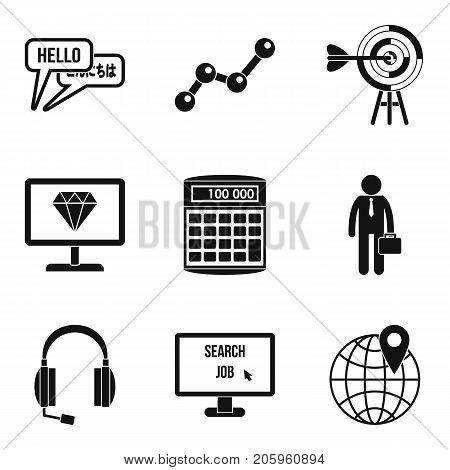 Elaboration icons set. Simple set of 9 elaboration vector icons for web isolated on white background