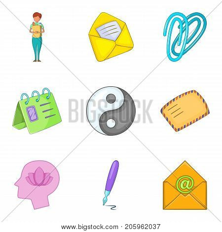 Pity icons set. Cartoon set of 9 pity vector icons for web isolated on white background