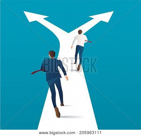 two businessman running on crossroads and making choice vector. business concept illustration. running competition