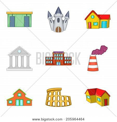 Large building icons set. Cartoon set of 9 large building vector icons for web isolated on white background