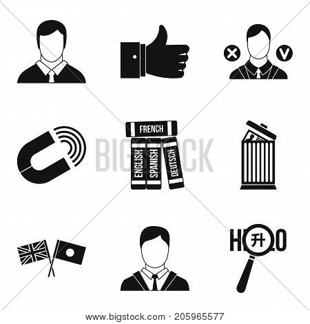 International relation icons set. Simple set of 9 international relation vector icons for web isolated on white background