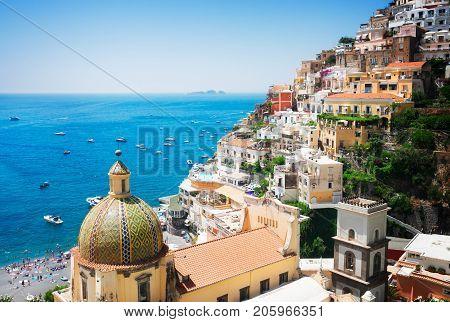 view of Positano - famous old italian resort, Italy, retro toned