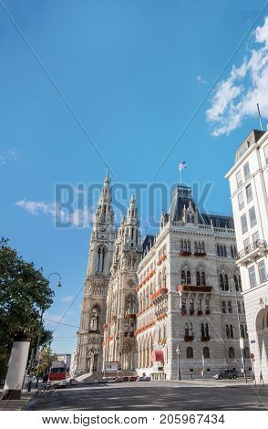 Low angle view of Rathaus city hall at Rathausplatz in Innere Stadt district at Vienna, Austria