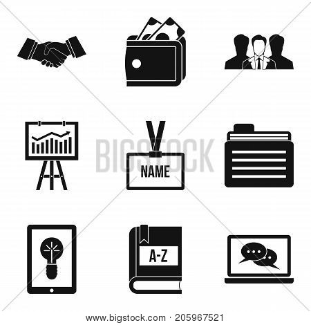Research finance icons set. Simple set of 9 research finance vector icons for web isolated on white background