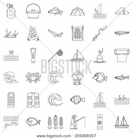 Outdoor icons set. Outline style of 36 outdoor vector icons for web isolated on white background