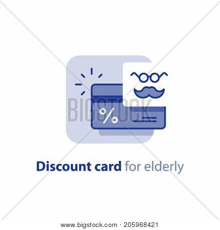 Loyalty program, discount card for elderly, earn reward points, cash back, bonus coupon, vector line icon