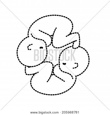 dotted shape nice babies twins with umbilical cord vector illustration