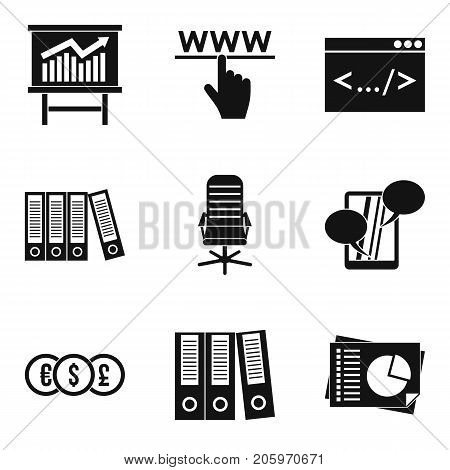 Monetary firm icons set. Simple set of 9 monetary firm vector icons for web isolated on white background