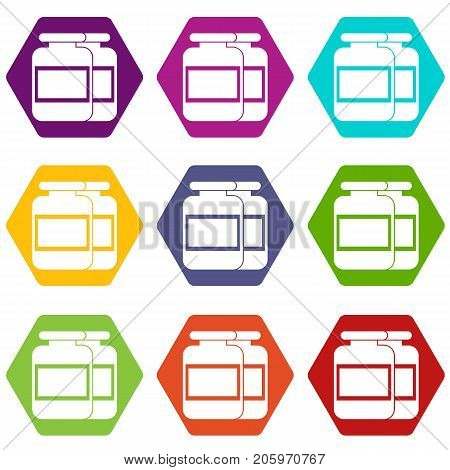 Nutritional supplement for athletes icon set many color hexahedron isolated on white vector illustration