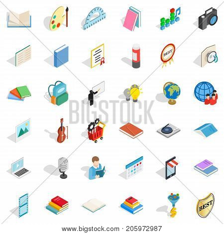 Booklet icons set. Isometric style of 36 booklet vector icons for web isolated on white background