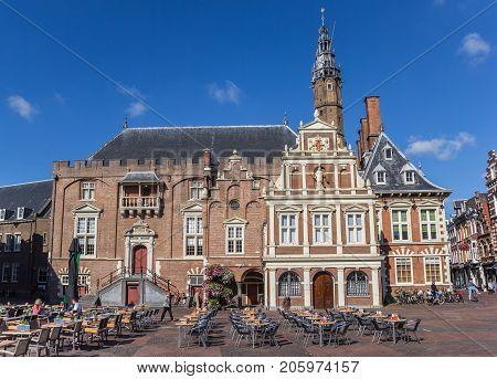 HAARLEM, NETHERLANDS - SEPTEMBER 03, 2017: Historic town hall in the center of Haarlem Netherlands