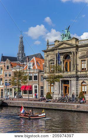 HAARLEM, NETHERLANDS - SEPTEMBER 03, 2017: Little boat in the canals of Haarlem Netherlands