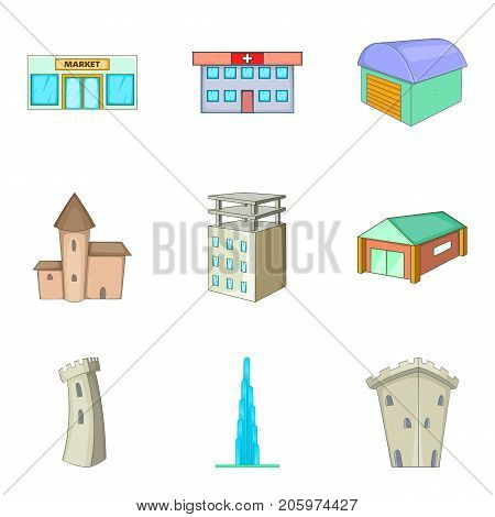 Mansion icons set. Cartoon set of 9 mansion vector icons for web isolated on white background
