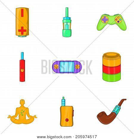 Detoxification icons set. Cartoon set of 9 detoxification vector icons for web isolated on white background