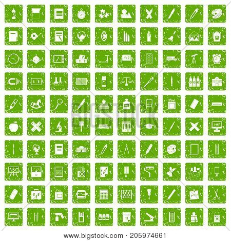 100 stationery icons set in grunge style green color isolated on white background vector illustration