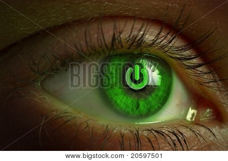 Human eye with power button reflection