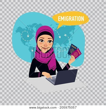 Arab woman sitting at table in office and working on laptop. Woman draws up documents on emigration. Emigration concept. Illustration on transparent background.