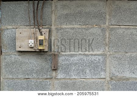 old socket electrical outlet wall socket or outlet plate on the wall