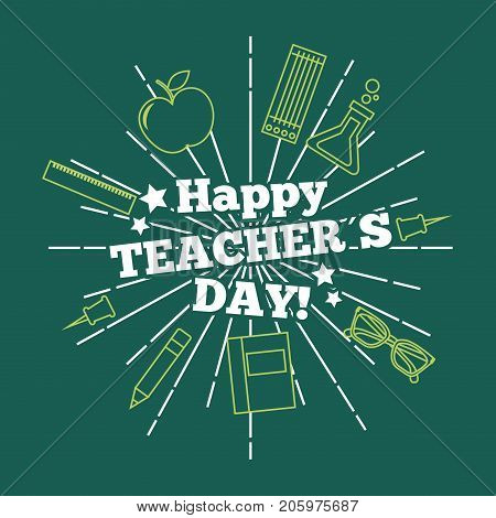 happy teacher day card greeting green background vector illustration