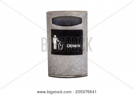 Metal bin isolated white backgroud with clipping path.Sign on the bin