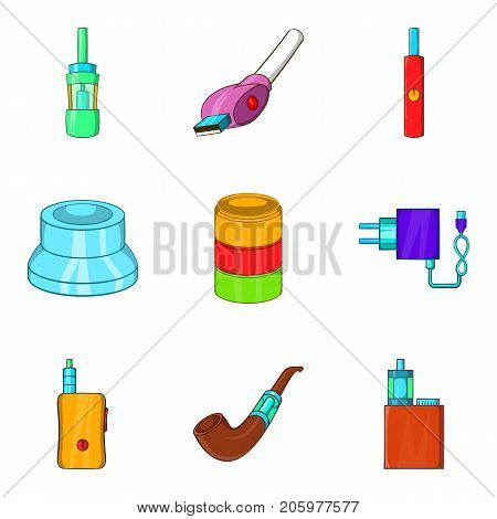 E-cigarette icons set. Cartoon set of 9 e-cigarette vector icons for web isolated on white background