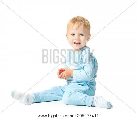 Cute little baby with jingle bell on white background. Christmas concept