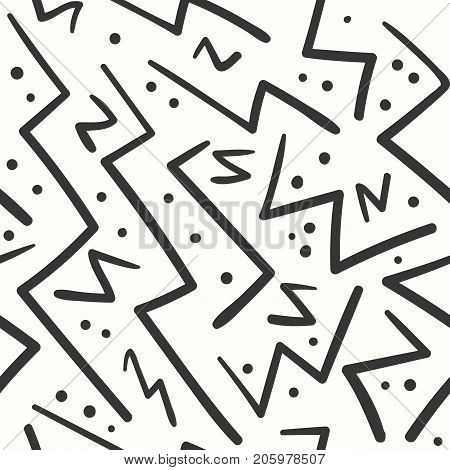 Abstract black on white zig zag seamless pattern. Abstract fashion trendy vector texture with hand drawn angle zigzag lines for textile, wrapping paper, cover, surface, background, wallpaper