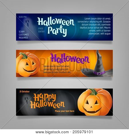 Three Halloween banners. Vector ilustration. Wizard's hat, jack-o-lanterns and ghosts.