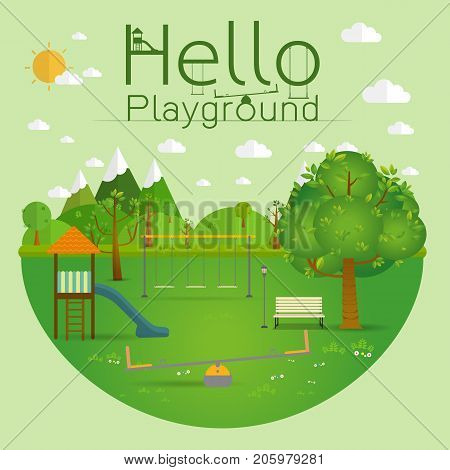 Hello playground. Natural landscape in the flat style.a beautiful park.Environmentally friendly natural landscape.Vector illustration