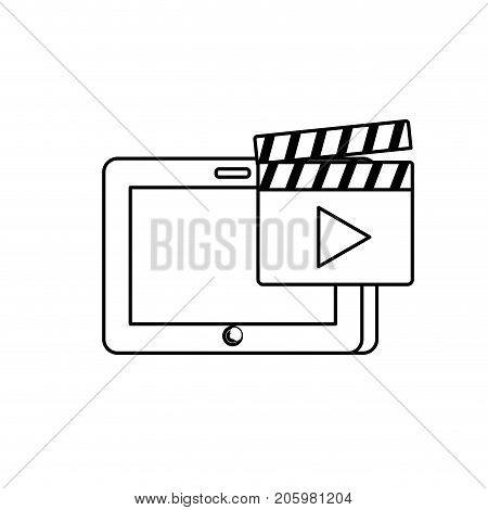 line tablet technology with clapperboard video icon vector illustration